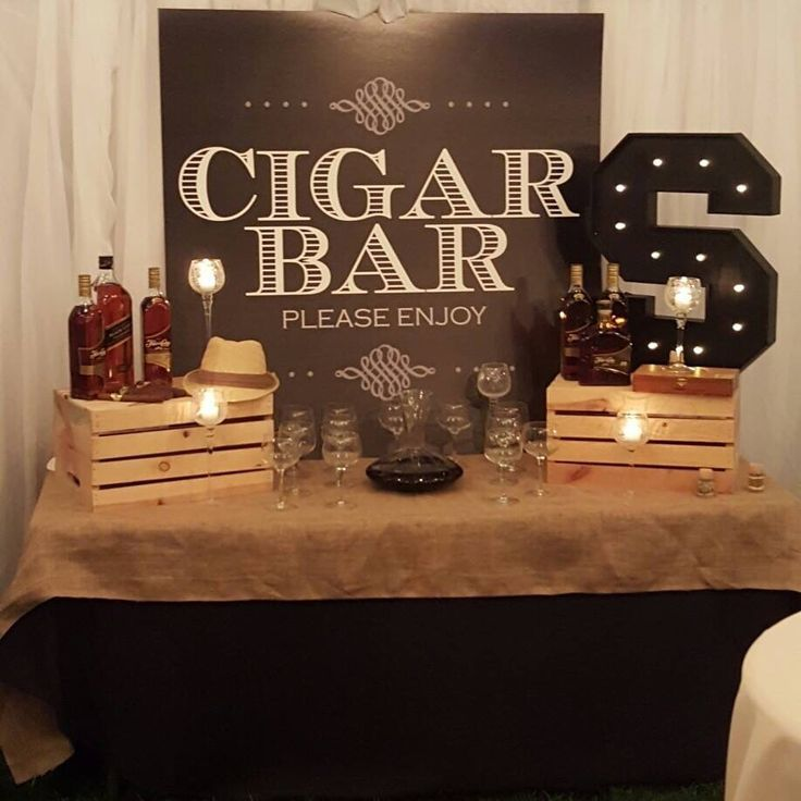 Custom vibe theme cigar bar backdrop party prop.                                                                                                                                                      More
