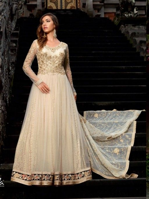 Beige Net Anarkali Suit with Embroidery Work