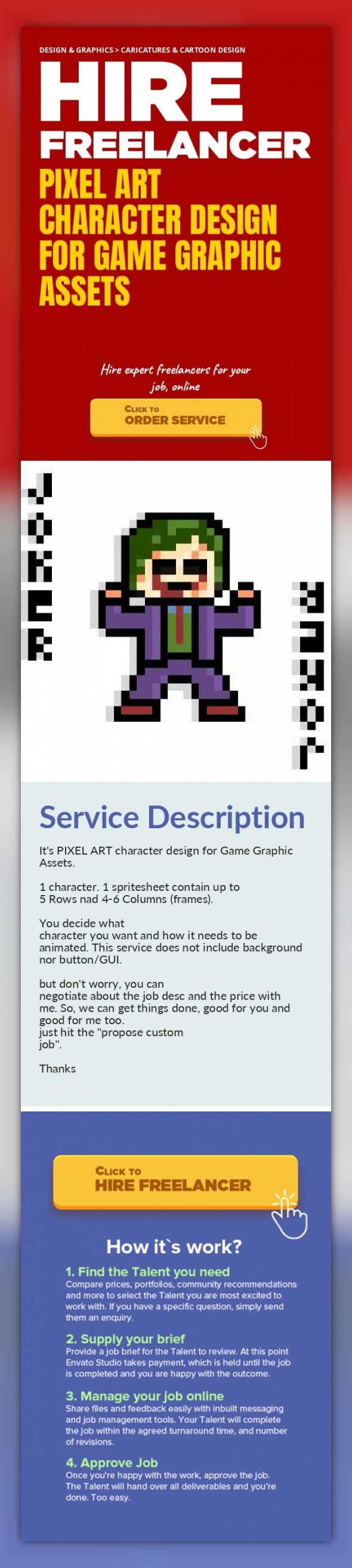 Pixel Art Character Design for Game Graphic Assets Design & Graphics, Caricatures & Cartoon Design   It's PIXEL ART character design for Game Graphic Assets.    1 character. 1 spritesheet contain up to 5 Rows nad 4-6 Columns (frames).    You decide what character you want and how it needs to be animated. This service does not include background nor button/GUI.    but don't worry, you can negotiate...