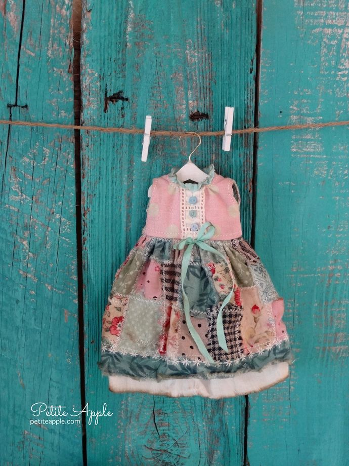 Blythe doll OOAK outfit *Summer quilt* patchwork vintage style dress by marina, $65.00 USD