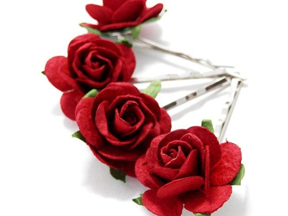 Deep Red Rose Hair Clips Set of Four Bobby Pins Bridal Accessory Wedding Accessories