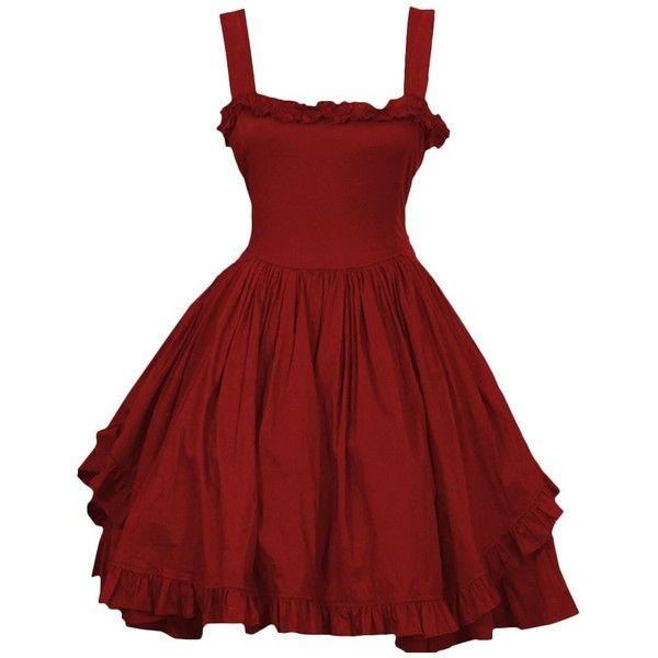 Partiss Women's Sundresses Lovely Straps Gothic Lolita Dress ($10) ❤ liked on Polyvore featuring dresses, sun dresses, red gothic dress, red dress, sundress dresses and goth dresses