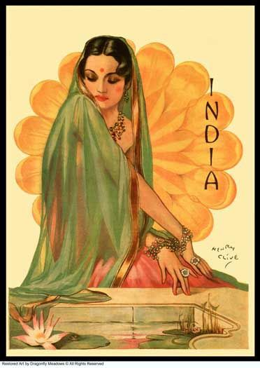 Travel girl India beauty 1930's - by Henry Clive