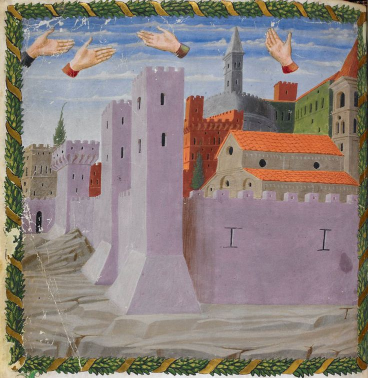 British Library, Harley 1340, f. 12v ('Miniature of disembodied hands floating above the city of Rome'). Vaticinia de Pontificibus (attrib. to Joachim of Fiore). Florence, 2nd quarter of the 15th century.