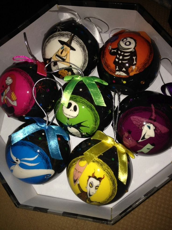 the nightmare before christmas ornament set 7 - Halloween Christmas Ornaments