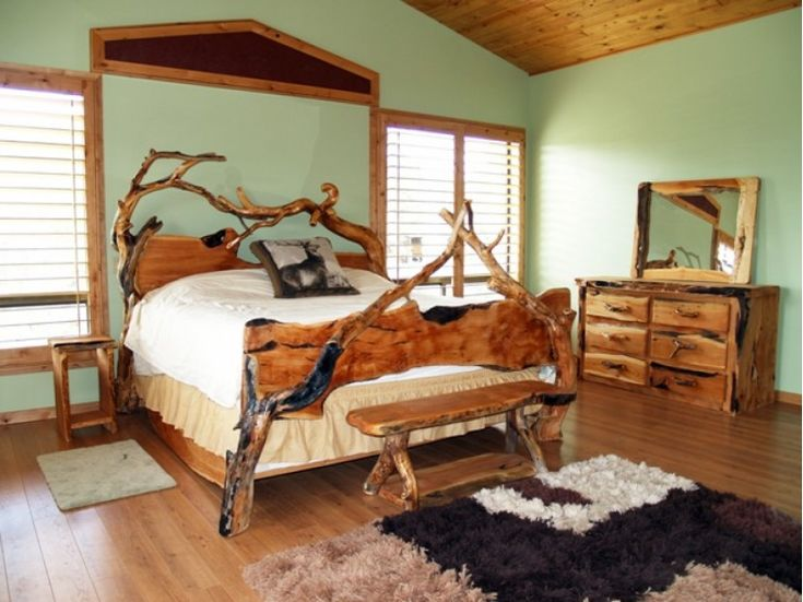 Modern Rustic Bed Frame Ideas : Amazing Rustic Bed Frame Natural Wooden  Style Deer Pillows Ornament And Green Interior Design Part 82