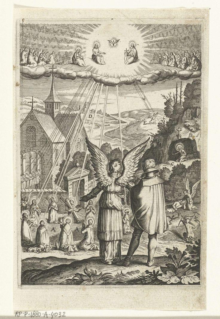 Embleem met engel die aan man toont dat hij moet leven naar het voorbeeld van heiligen, Boëtius Adamsz. Bolswert, 1620 - 1623