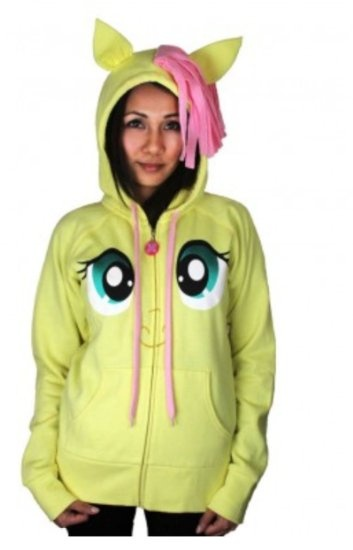 Amazon.com: My Little Pony Fluttershy Pegasus Face Juniors Butter Yellow Costume Hoodie with Mane and Wings: Clothing