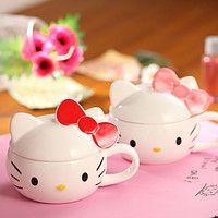 Чашка «Hello Kitty» с крышкой, оригинальные подарки, сувениры