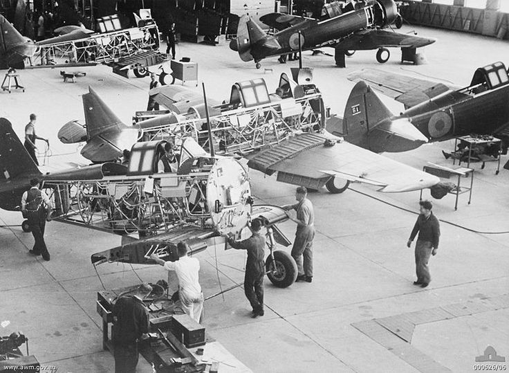 Wirraway aircraft under construction at a CAC factory at Fishermen's Bend, Australia, in 1940