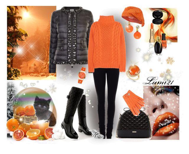 orange winter by lumi-21 on Polyvore featuring Joseph, Moncler, Givenchy, Posh Wellies, SUSU, Michael Kors, Jeweliq, GAB, Sisley and ORLY