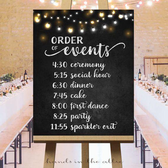 Order Of Events Timeline Sign Printable Wedding Day Schedule Etsy Wedding Day Schedule Wedding Reception Timeline Reception Timeline