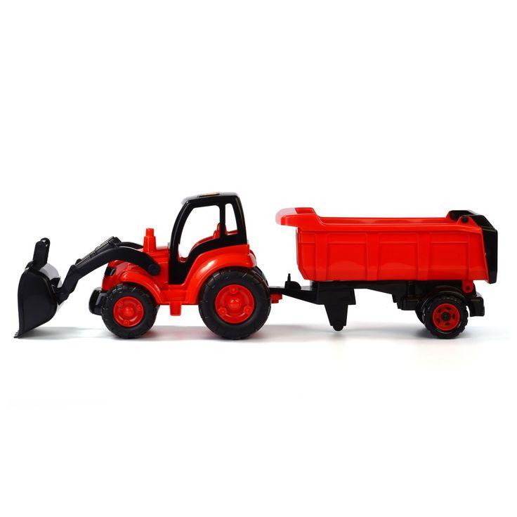 Help een handje mee op het land met deze rode tractor met voorlader en aanhanger. Schep materialen op met de voorlader en kiep ze in de aanhanger. Op de plaats van bestemming los je de spullen gemakkelijk dankzij de handige kiepfunctie van de wagen. De set is gemaakt van stevig kunststof en heeft gemakkelijk te bedienen machines. Afmeting: tractor en aanhanger 86,5 x 22,5 x 26 cm - Tractor met Voorlader en Aanhanger