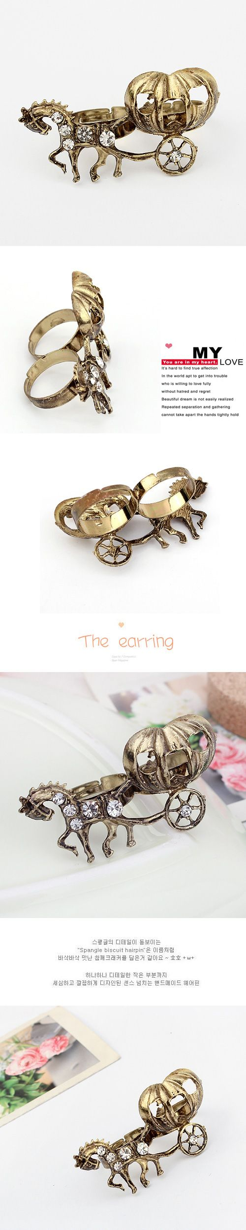 aleación de zinc Anillos de dedo doble, con diamantes de imitación, Coche de calabaza, chapado en color dorado antiguo, 5x3cm, tamaño:6-9, Vendido por UD,Abalorios de joyería por mayor de China