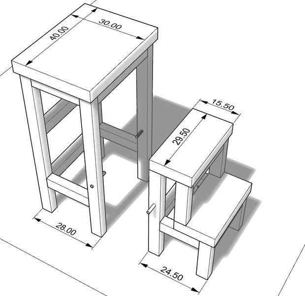 размеры 3-ей версии складного стула-стремянки