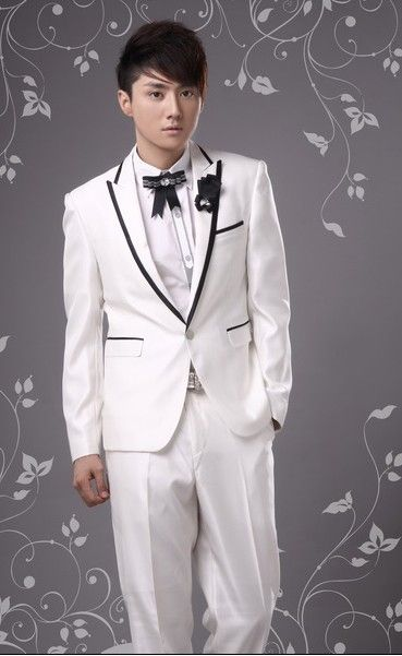Buy Western Style Lapelled Single Button Groom Suit White with cheapest price|Clothing-Dropship.com