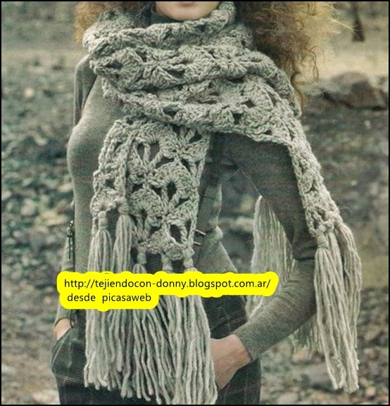 TEJIDOS A CROCHET - GANCHILLO  - PATRONES: Crochet knitted scarf