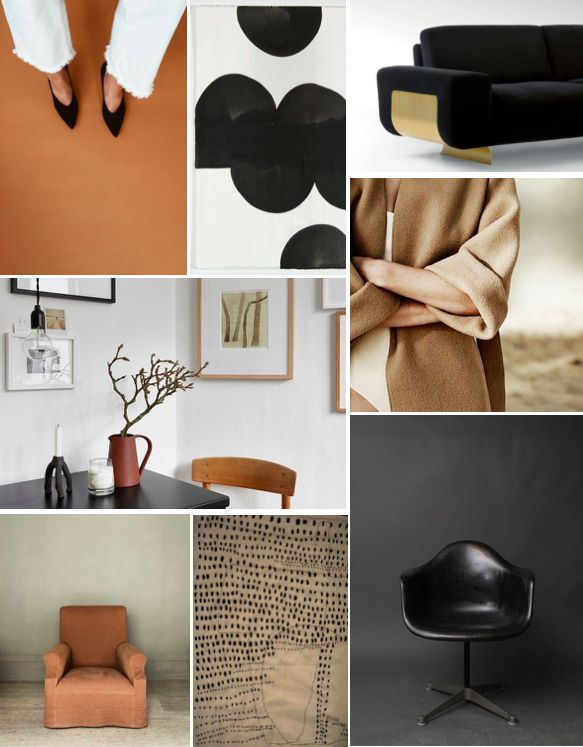 tan and black moodboard