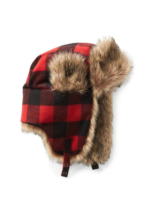 2165cee8 Gap Mens Wool Plaid Trapper Hat Red Plaid | Products | Hats, Winter ...