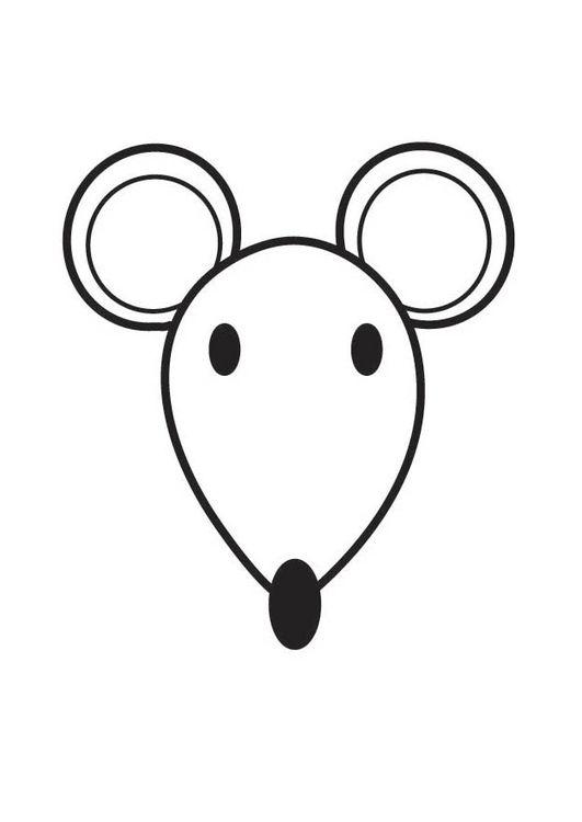 Kleurplaat kop muis