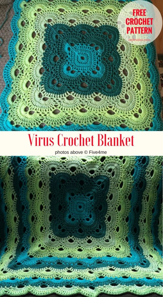 [Free Pattern] Virus Crochet Blanket  The Beautiful and timeless stitch which was used in very many projects as a crochet blanket, throw afghan, and crochet clothes. Depends on your preferences if the need is huge bedspread as on the pictures on our fan page the question is the only size. How to do that? Simply repeat the rows to grow it, depends on you.King size or maybe small - depends on you.  #crochet #virusblanket #freepattern