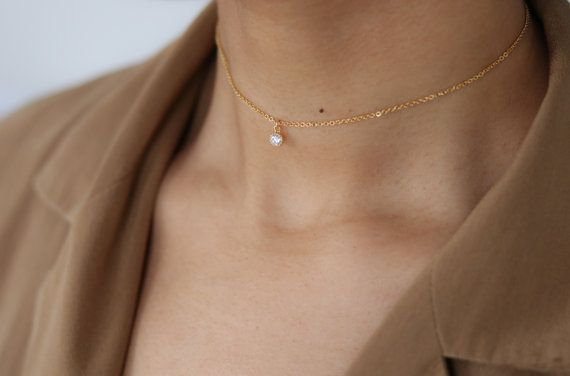 Dainty Diamond Choker Necklace - CZ Diamond Necklace - Crystal Choker - Layering Necklace - Minimalist Jewelry - Valentine's Day Gift
