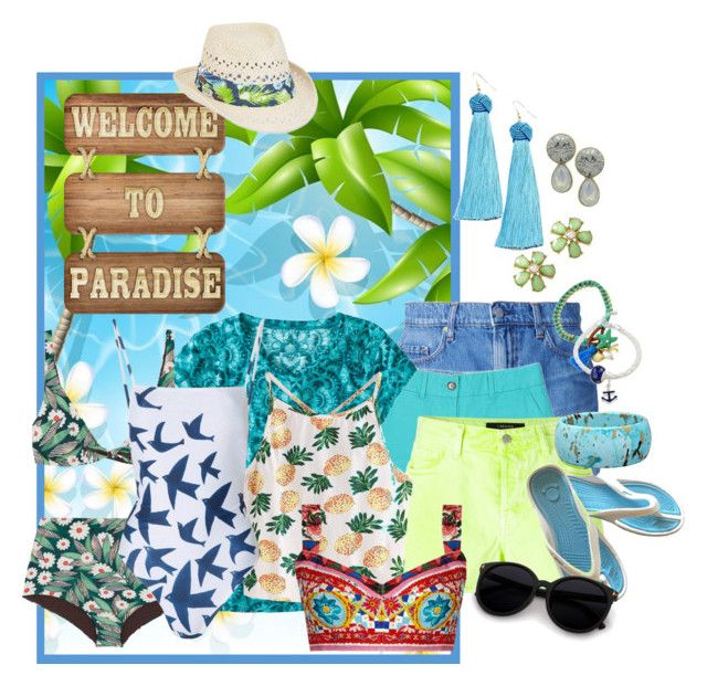 """Paradise"" by shoppe23 ❤ liked on Polyvore featuring Vanessa Mooney, Nobody Denim, LOFT, J Brand, Title Nine, WithChic, Dolce&Gabbana, Mara Hoffman, Caribbean Joe and Summer"