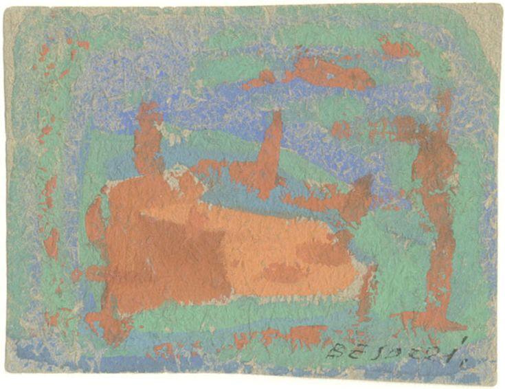 E. Besozzi pitt. s.d. (1960) Composizione tempera su carta cm. 5,5x7,5 arc. 633