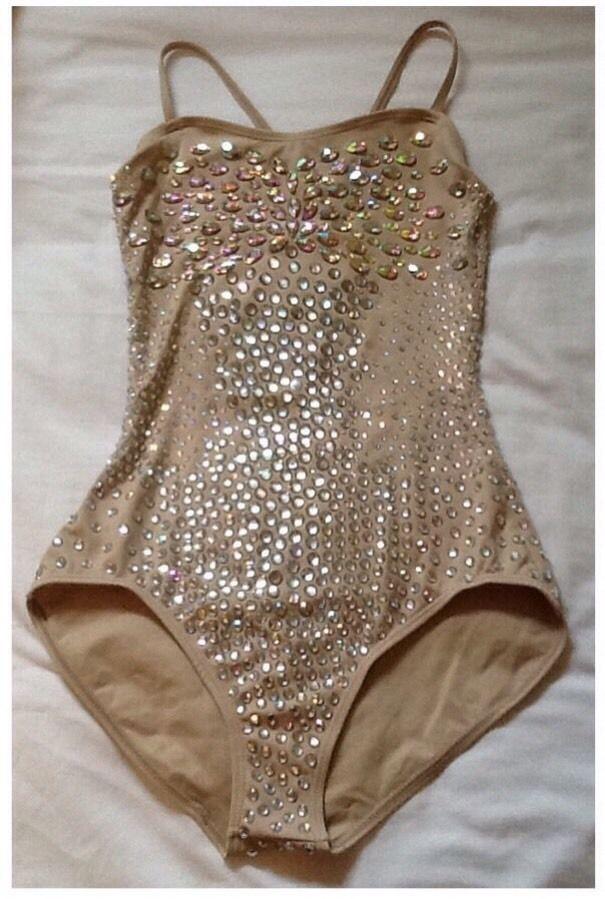 Amazing Nude Jewel Dance Leotard - 10/12Uk Jazz Ballet Circus Pole Dance