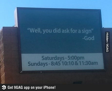 Billboard by a clever church.