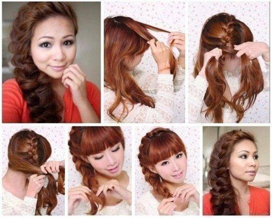 Боковое плетение волос