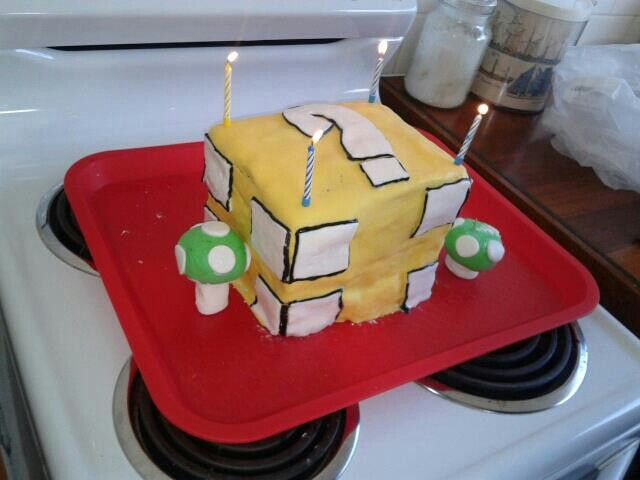 Super mario bros coin box cake, made by me for my SIL