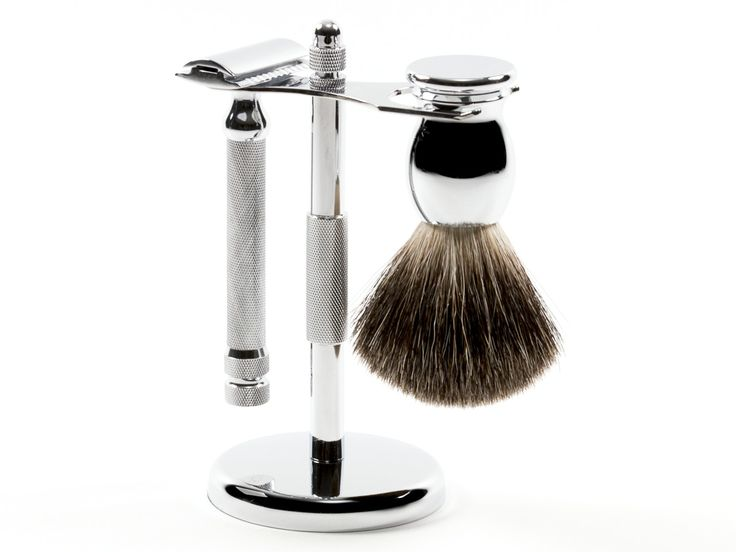 House of Knives | The Ice 3pc Safety Razor Set with Mixed Badger Brush in Chrome. This set will get the job done effortlessly. Featuring a weighty razor, and a soft but stiff brush, you'll be getting one of the smoothest shaves of your life.