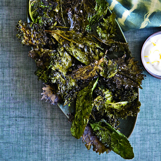 """Crispy Kale with Lemon-Yogurt Dip 