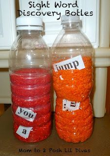 Sight word discovery bottles, and other ideas for learning site words. Could