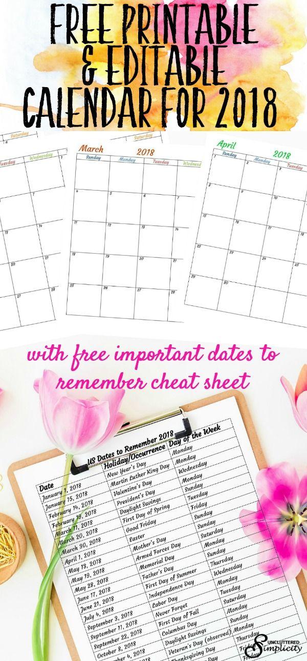 Get a free printable calendar for 2018. A free editable 2018 calendar is also available. #free2018calendar via @unclutteredsimplicity