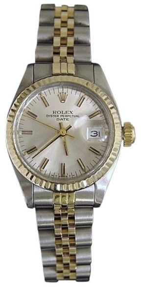 Rolex Date 6917 14K Yellow Gold & Stainless Steel With Silver Dial Womens Watch