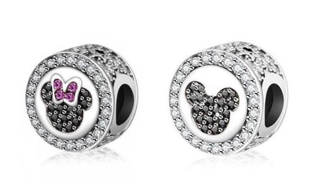 Pandora Reversable Mickey And Minnie Mouse 925 Sterling Silver Charm