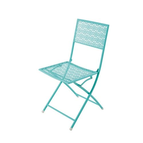 Metal Folding Garden Chair In Turquoise Blue