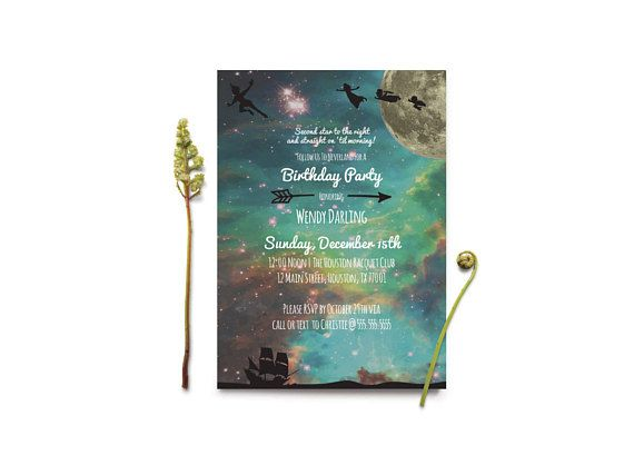 Peter Pan Birthday Invitation  Neverland   Cosmic   Lost