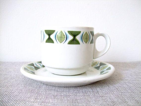 Vintage Modern Tea Coffee Cups Steelite Leaf Sherwood
