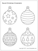 Free printable round and teardrop-shaped Christmas tree ornaments to color and use for paper crafts and other Christmas activities.