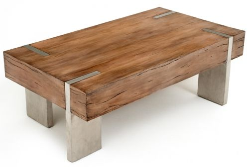 Wood block coffee table with steel legs by woodland creek furniture
