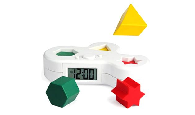 Once your alarm goes off, three puzzle pieces go flying in the air, and you have to return the colored shapes to the correct places in order to shut it off.