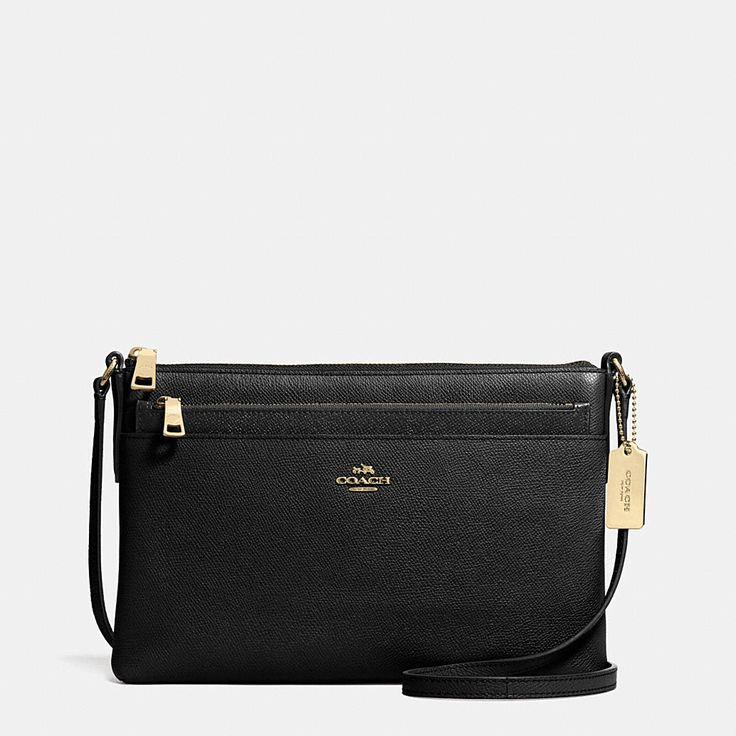 Even better than a bestselling Coach Swingpack: one with a removable pouch that can be worn separately. This slim and versatile crossbody keeps essentials neatly and securely organized for weekends and travel within its richly textured leather exterior.