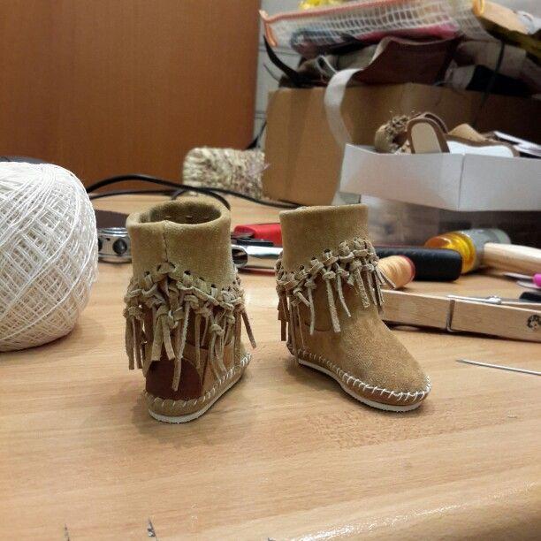 #Indianini #boots #fringe #Minifee #msd #bjd #doll #suede #leather #nonpossoviveresenzaindianini #madeinitaly #artigianatoitaliano #style4bjd