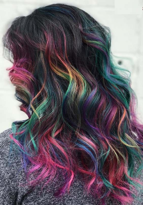 adorable deep dark rainbow hair