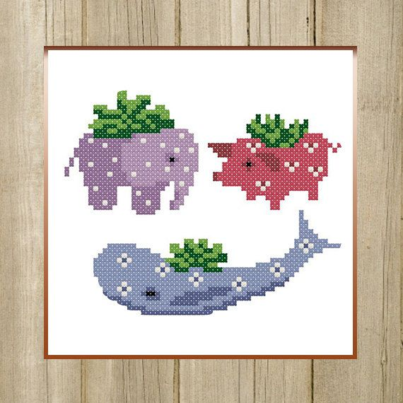 PDF. Flower Pots Animals. Cross stitch pattern by SecretFriends