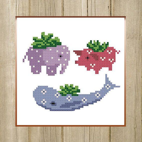 PDF. Flower Pots Animals. Cross stitch pattern by SecretFriends