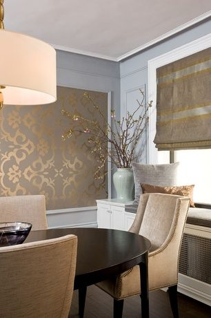 Contemporary Dining Room with Chair rail, Somerton Dwelling Cirque Oval Top Leg Dining Table, Solid hardwood flooring, Mural